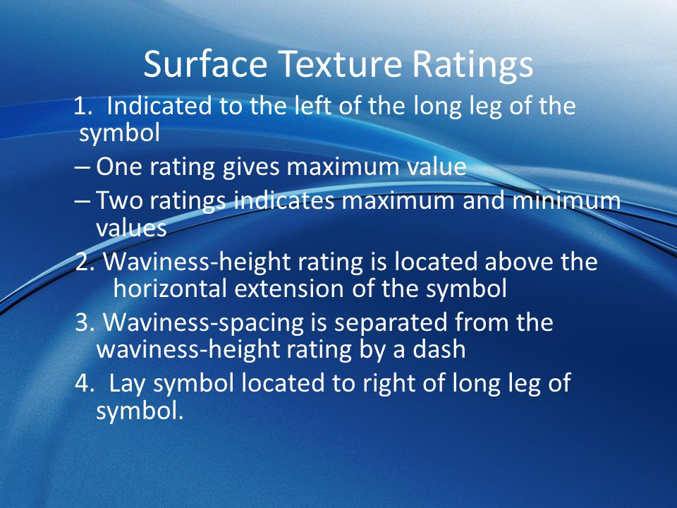 Surface Texture Ratings