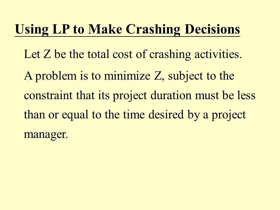 Using LP to Make Crashing Decisions