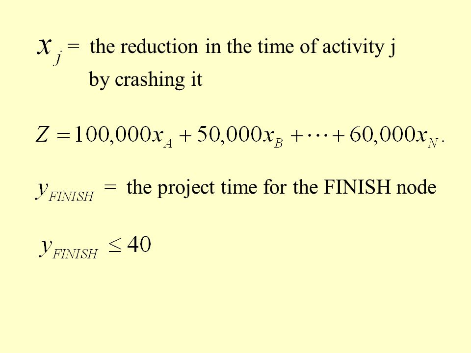 = the reduction in the time of activity j