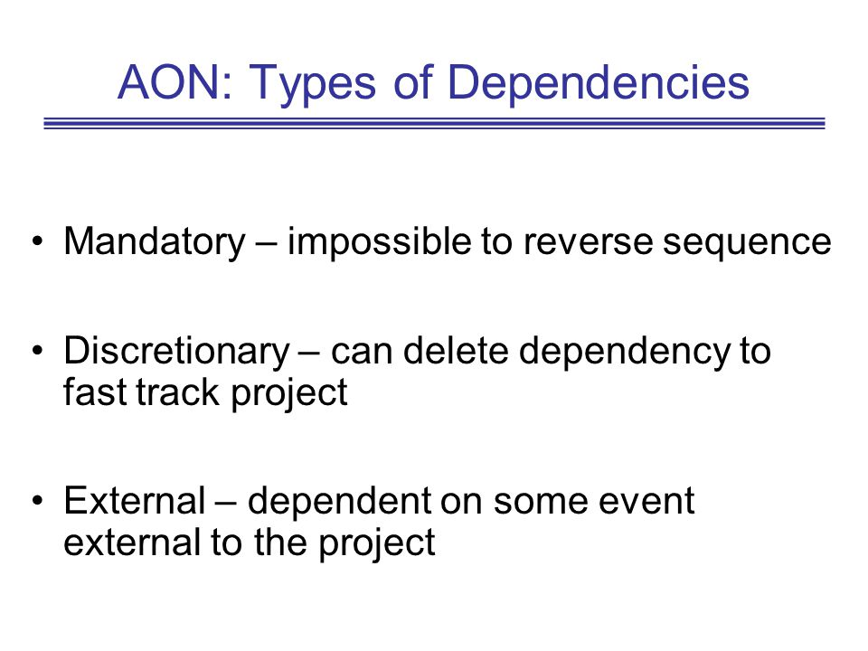 AON: Types of Dependencies