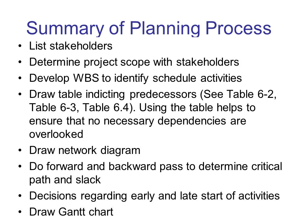Summary of Planning Process