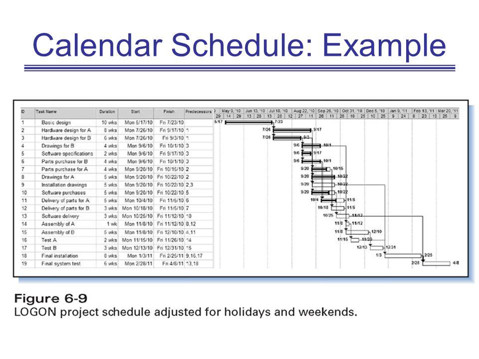 Calendar Schedule: Example