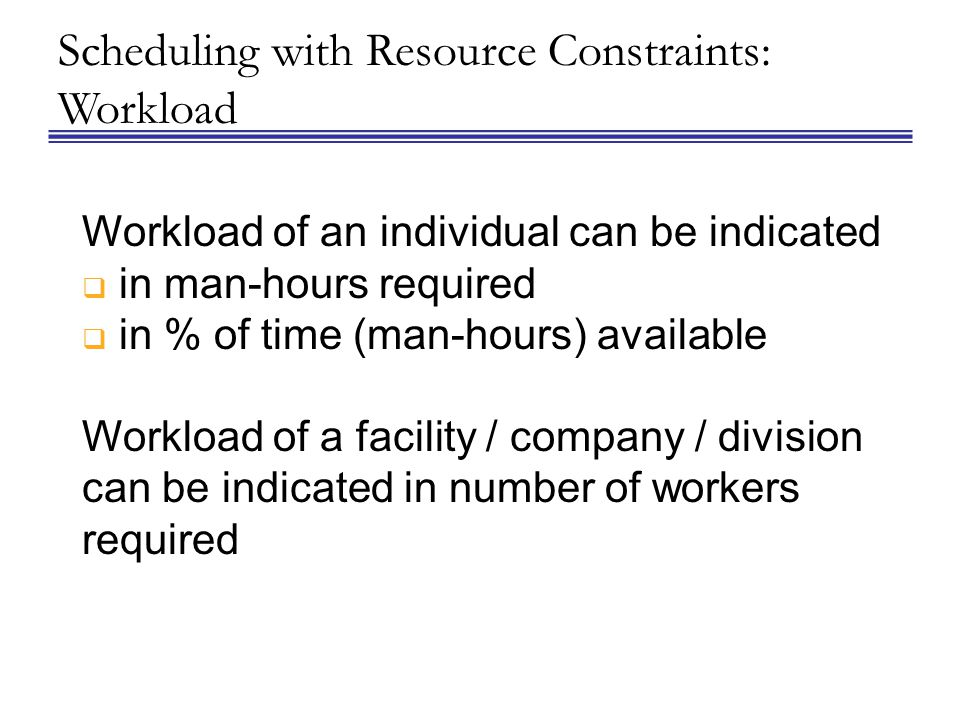 Scheduling with Resource Constraints: Workload