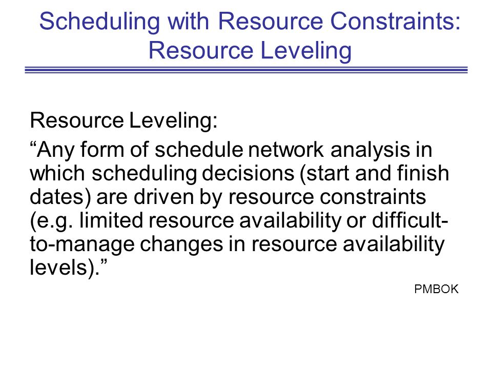 Scheduling with Resource Constraints: Resource Leveling