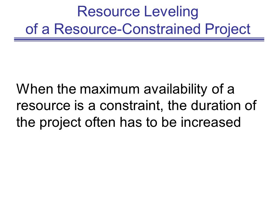 Resource Leveling of a Resource-Constrained Project