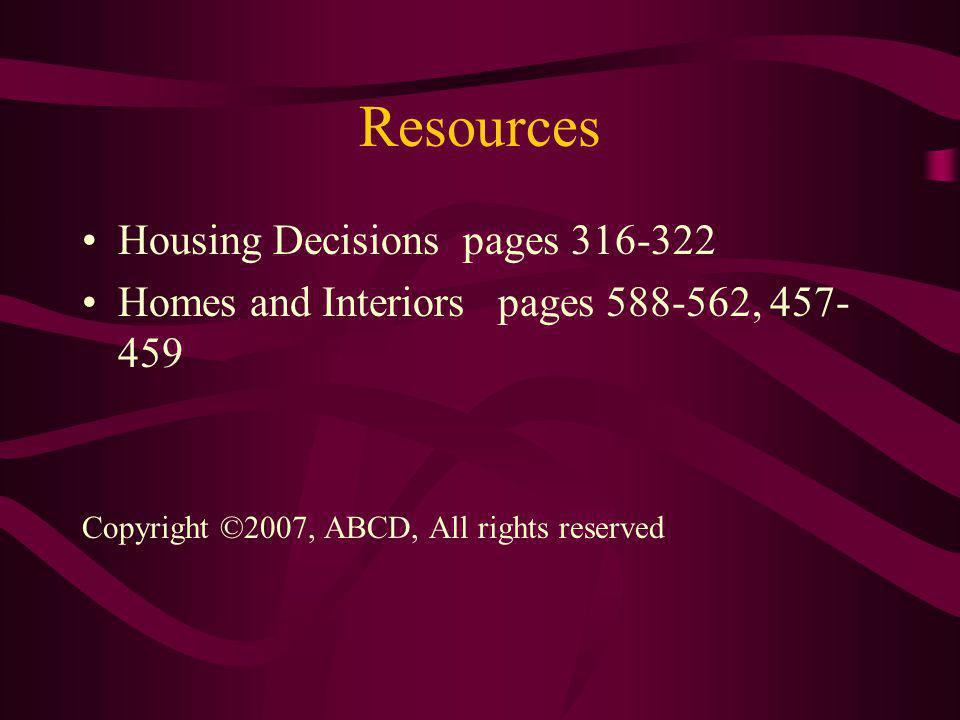 Resources Housing Decisions pages 316-322