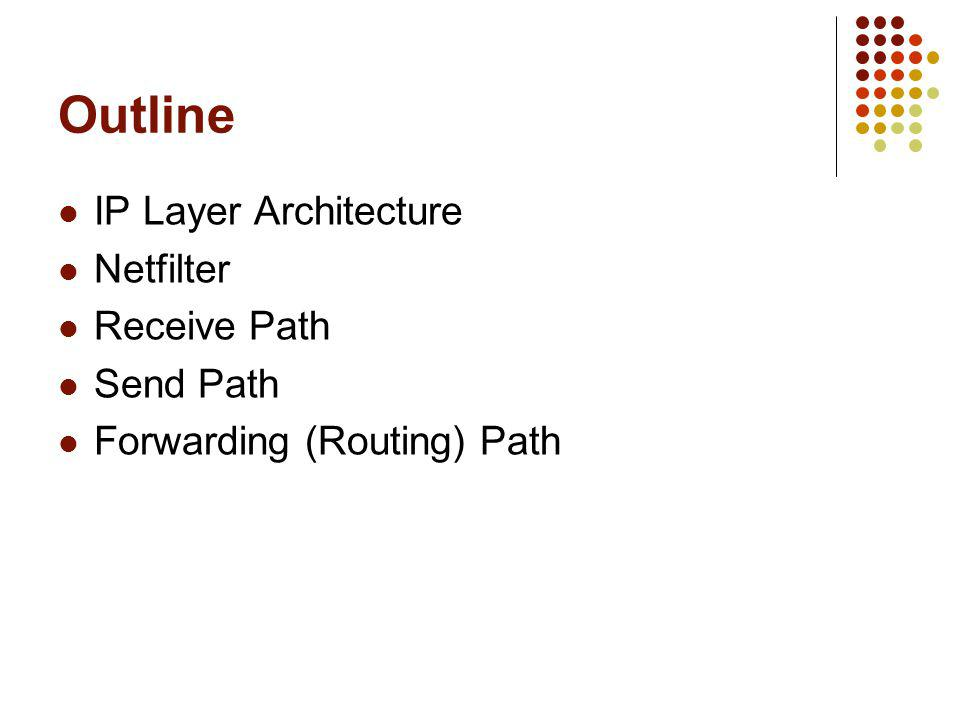 Outline IP Layer Architecture Netfilter Receive Path Send Path