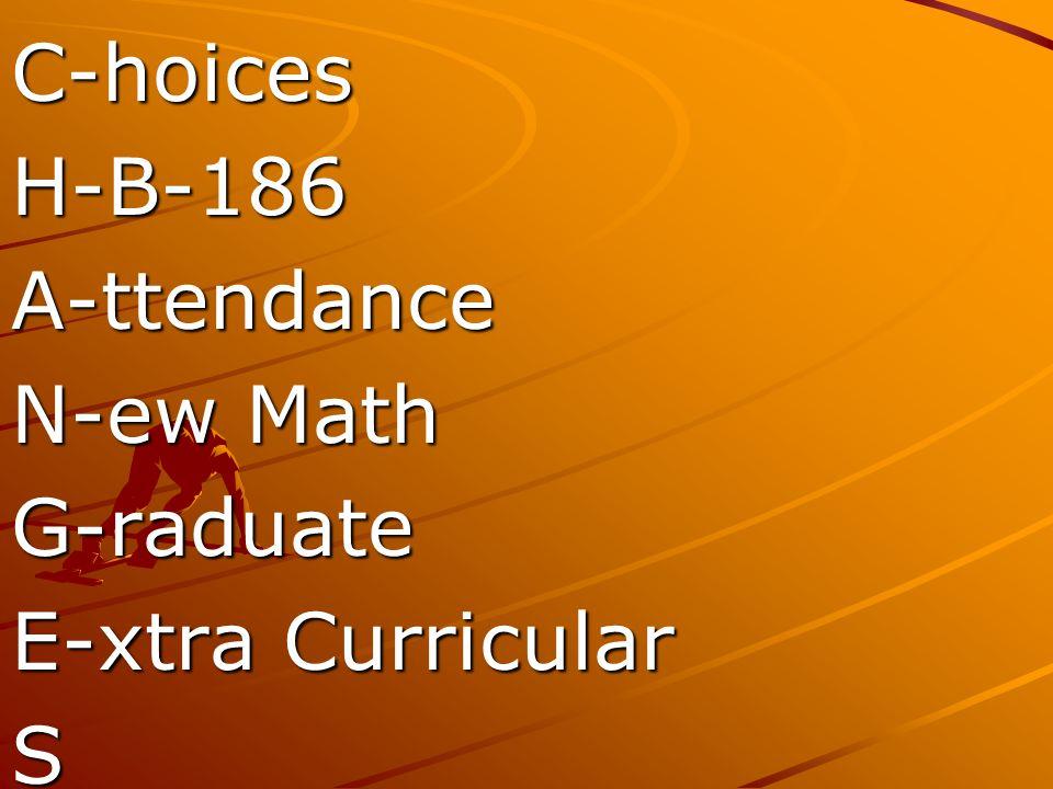 C-hoices H-B-186 A-ttendance N-ew Math G-raduate E-xtra Curricular S