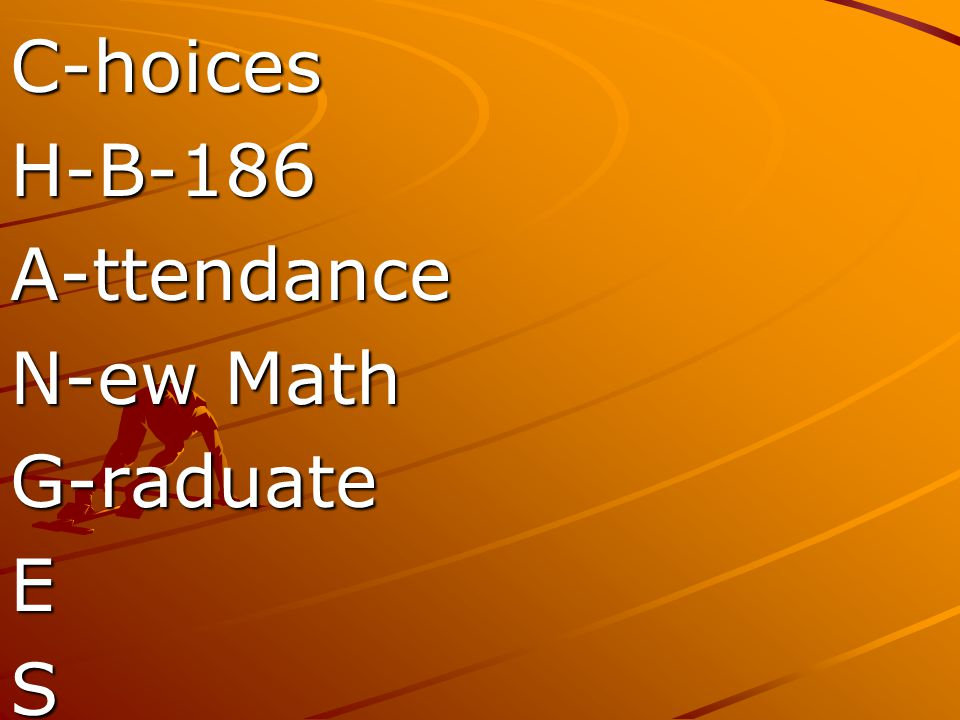 C-hoices H-B-186 A-ttendance N-ew Math G-raduate E S