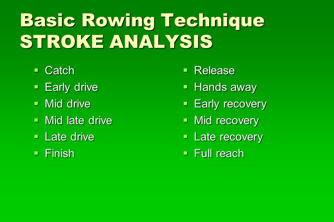 Basic Rowing Technique STROKE ANALYSIS