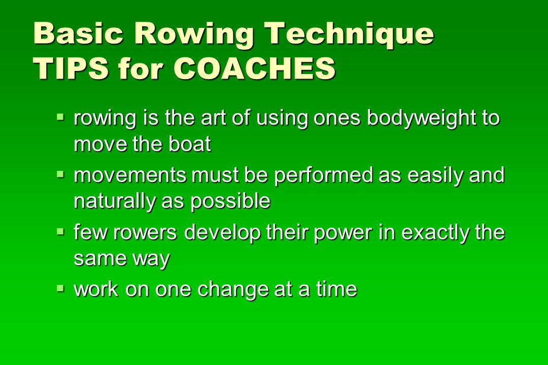 Basic Rowing Technique TIPS for COACHES
