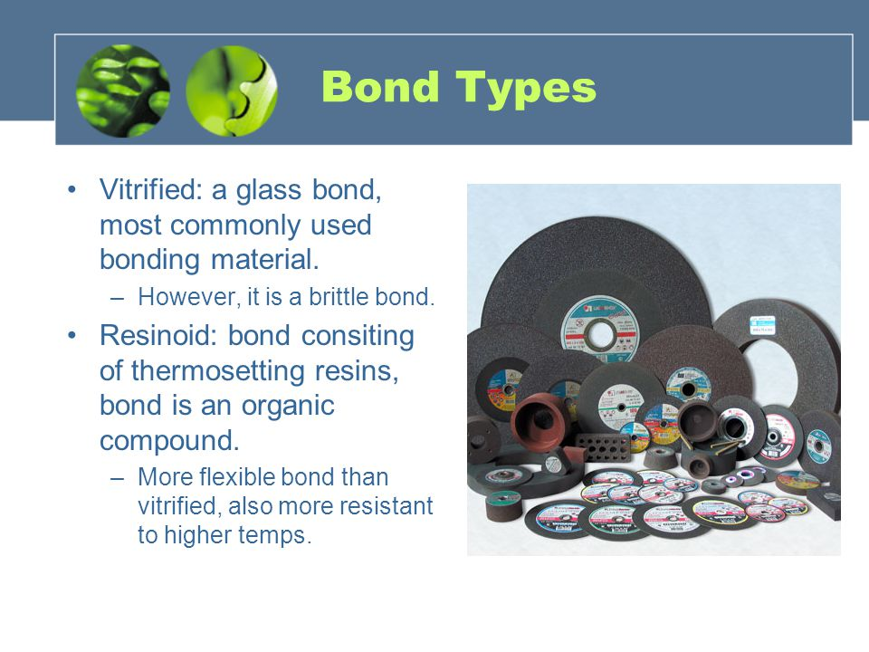 Bond Types Vitrified: a glass bond, most commonly used bonding material. However, it is a brittle bond.