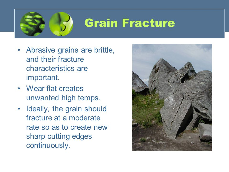 Grain Fracture Abrasive grains are brittle, and their fracture characteristics are important. Wear flat creates unwanted high temps.