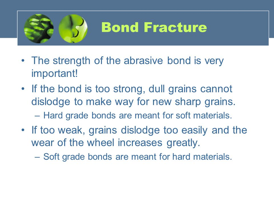Bond Fracture The strength of the abrasive bond is very important!