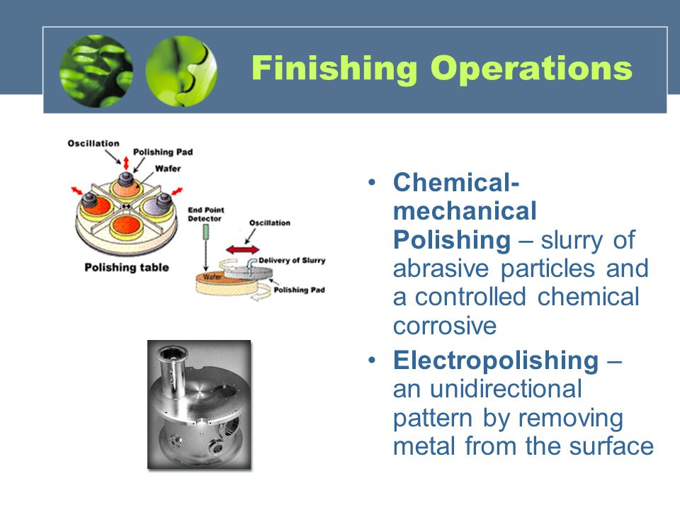 Finishing Operations Chemical-mechanical Polishing – slurry of abrasive particles and a controlled chemical corrosive.