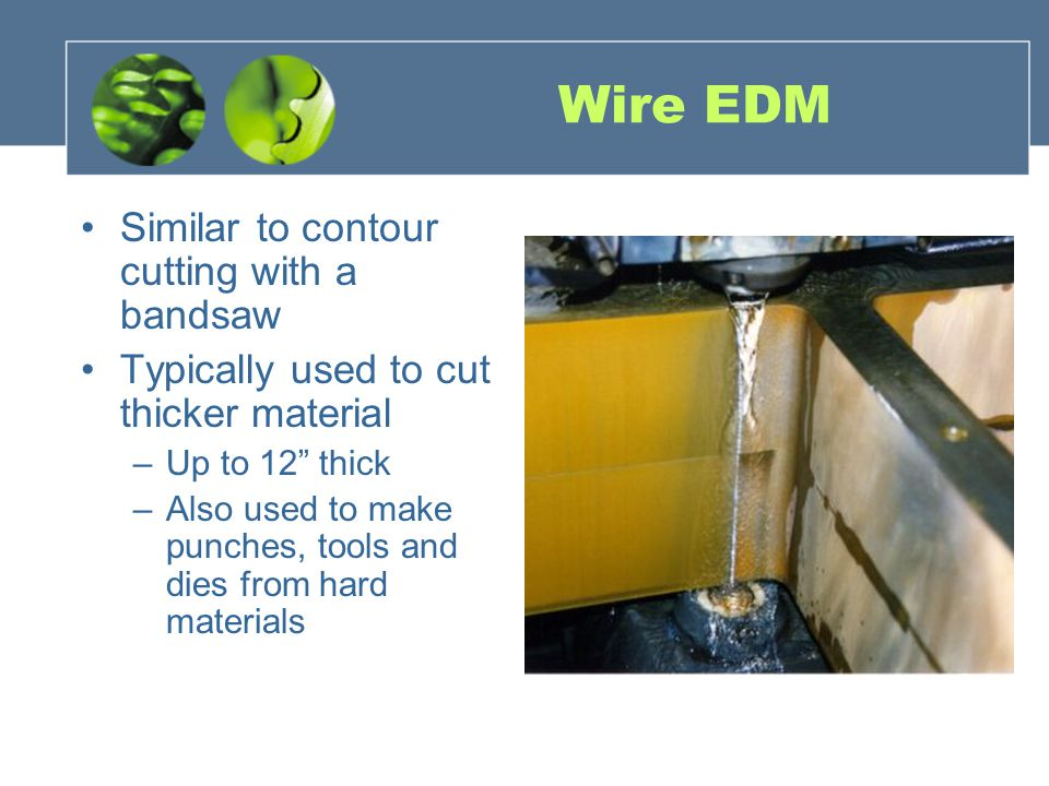 Wire EDM Similar to contour cutting with a bandsaw