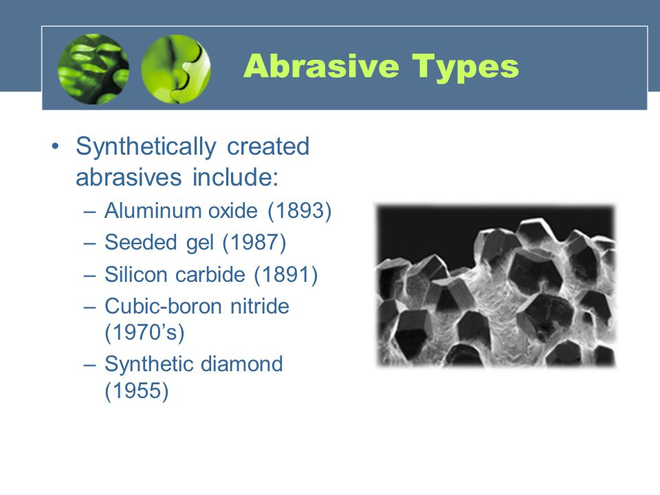 Abrasive Types Synthetically created abrasives include: