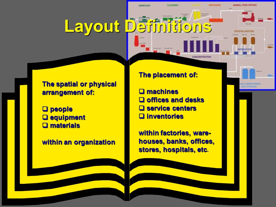 Layout Definitions The placement of: machines The spatial or physical