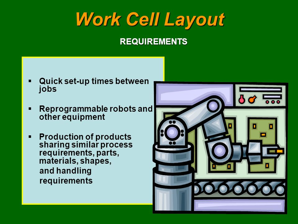 Work Cell Layout REQUIREMENTS Quick set-up times between jobs