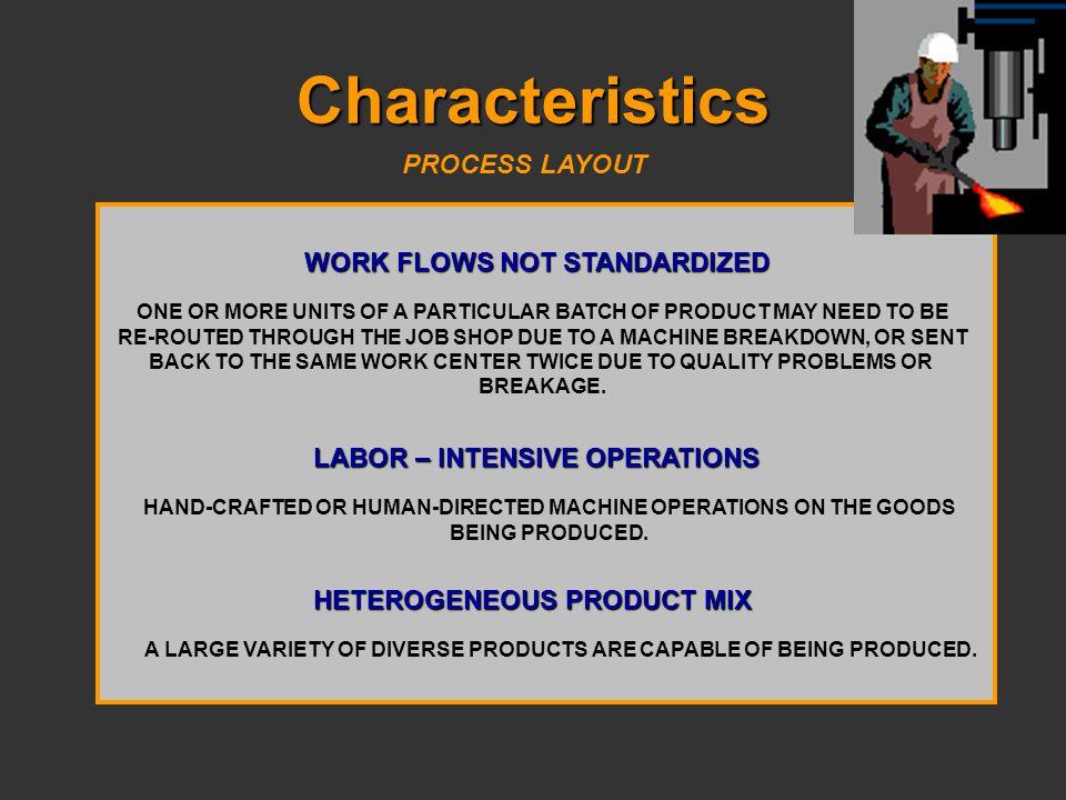 Characteristics PROCESS LAYOUT WORK FLOWS NOT STANDARDIZED
