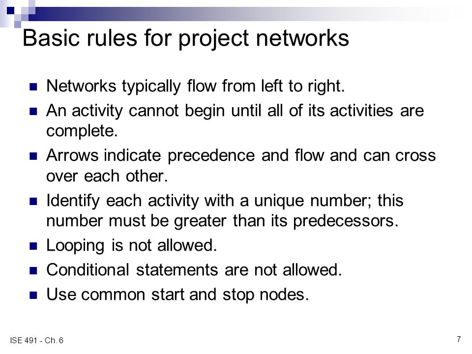 Basic rules for project networks