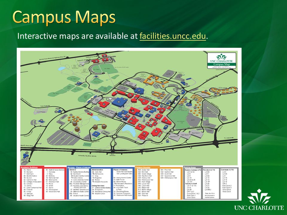 Campus Maps Interactive maps are available at facilities.uncc.edu.