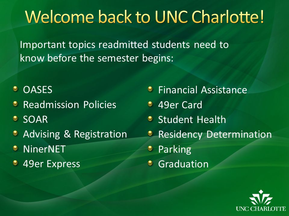 Welcome back to UNC Charlotte!
