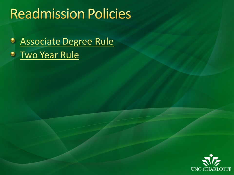 Readmission Policies Associate Degree Rule Two Year Rule