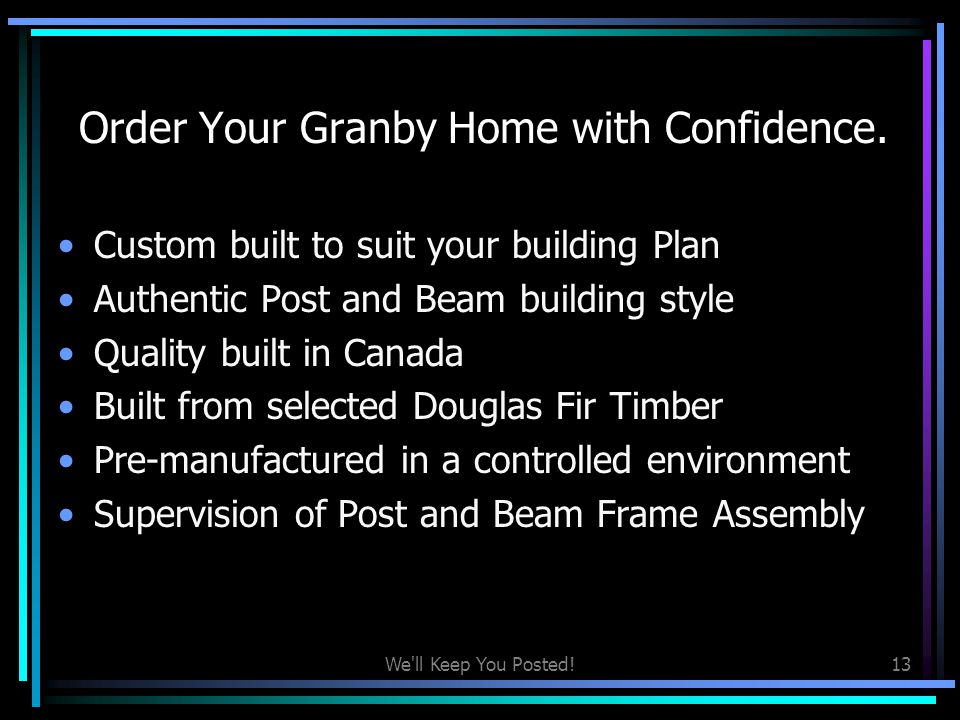 Order Your Granby Home with Confidence.