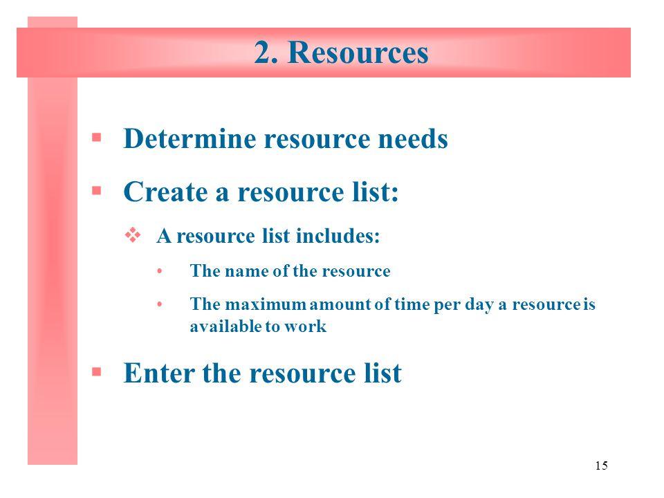 2. Resources Determine resource needs Create a resource list: