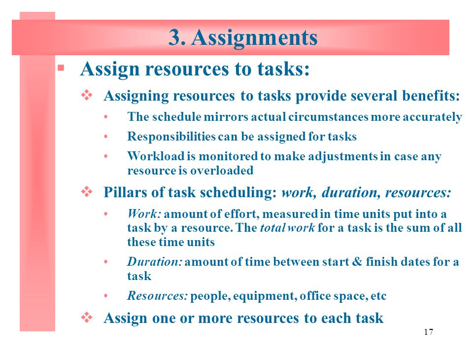 3. Assignments Assign resources to tasks: