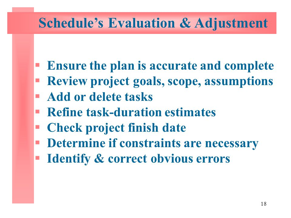 Schedule's Evaluation & Adjustment