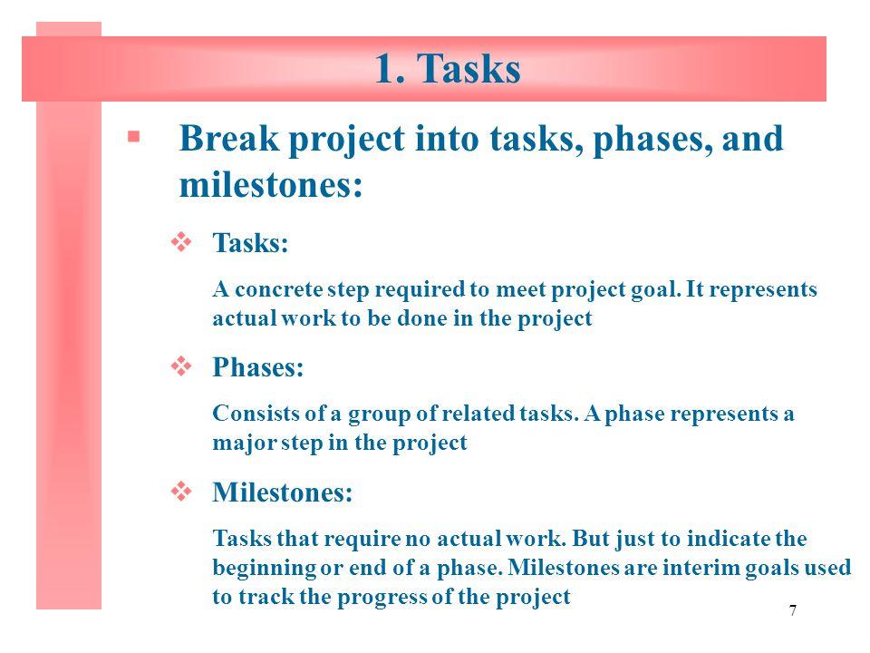1. Tasks Break project into tasks, phases, and milestones: Tasks: