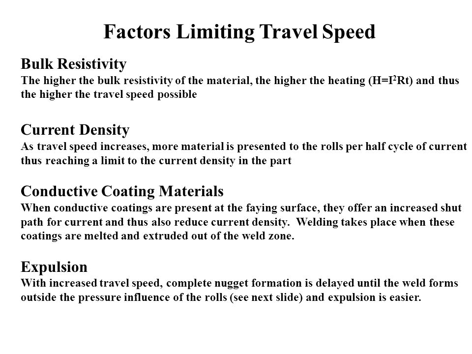 Factors Limiting Travel Speed