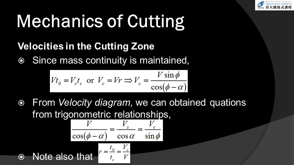 Mechanics of Cutting Velocities in the Cutting Zone