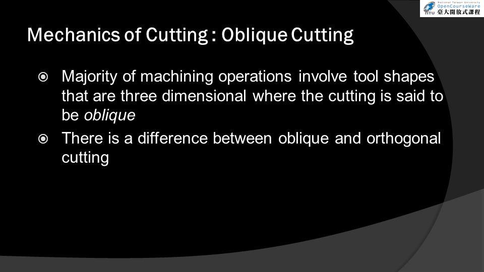 Mechanics of Cutting : Oblique Cutting
