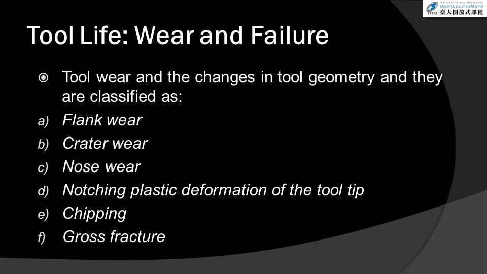 Tool Life: Wear and Failure