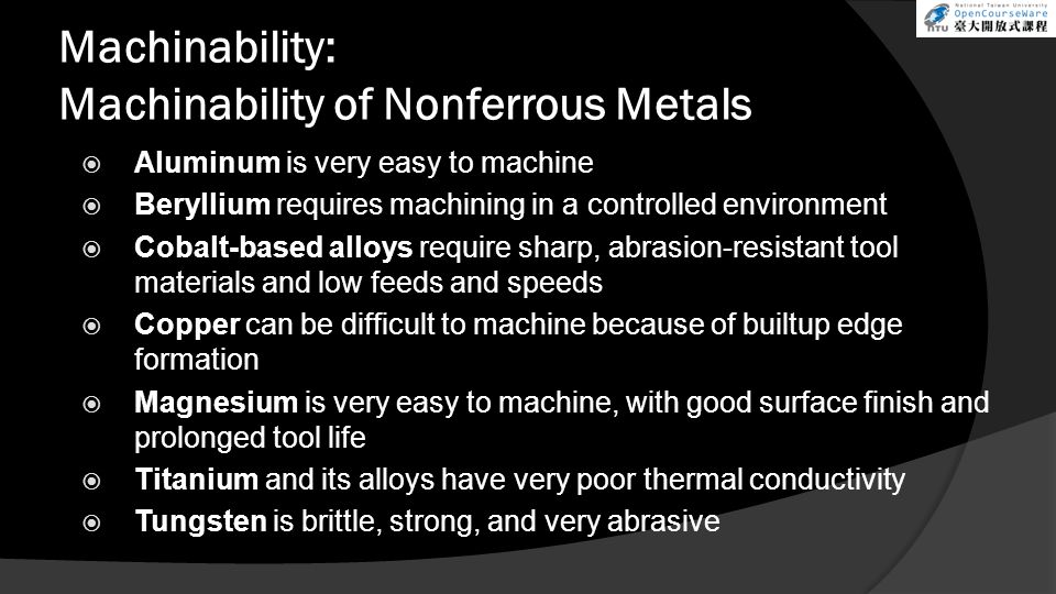 Machinability: Machinability of Nonferrous Metals