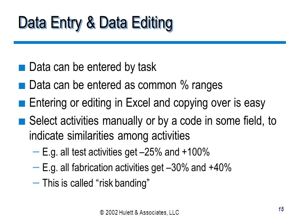 Data Entry & Data Editing