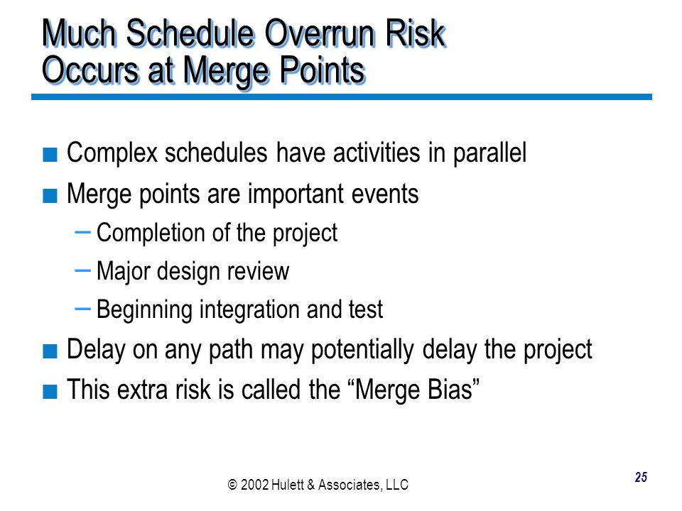 Much Schedule Overrun Risk Occurs at Merge Points