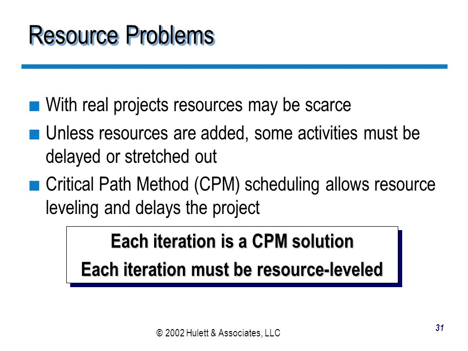 Resource Problems With real projects resources may be scarce