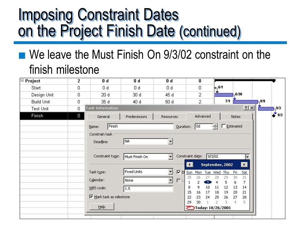 Imposing Constraint Dates on the Project Finish Date (continued)