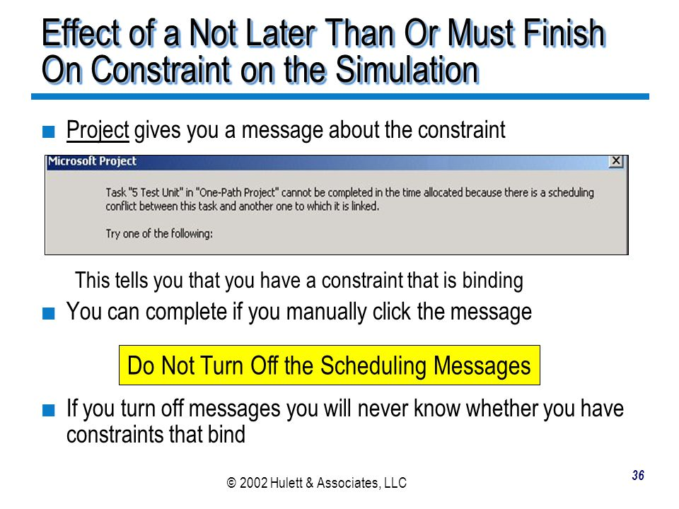 Do Not Turn Off the Scheduling Messages