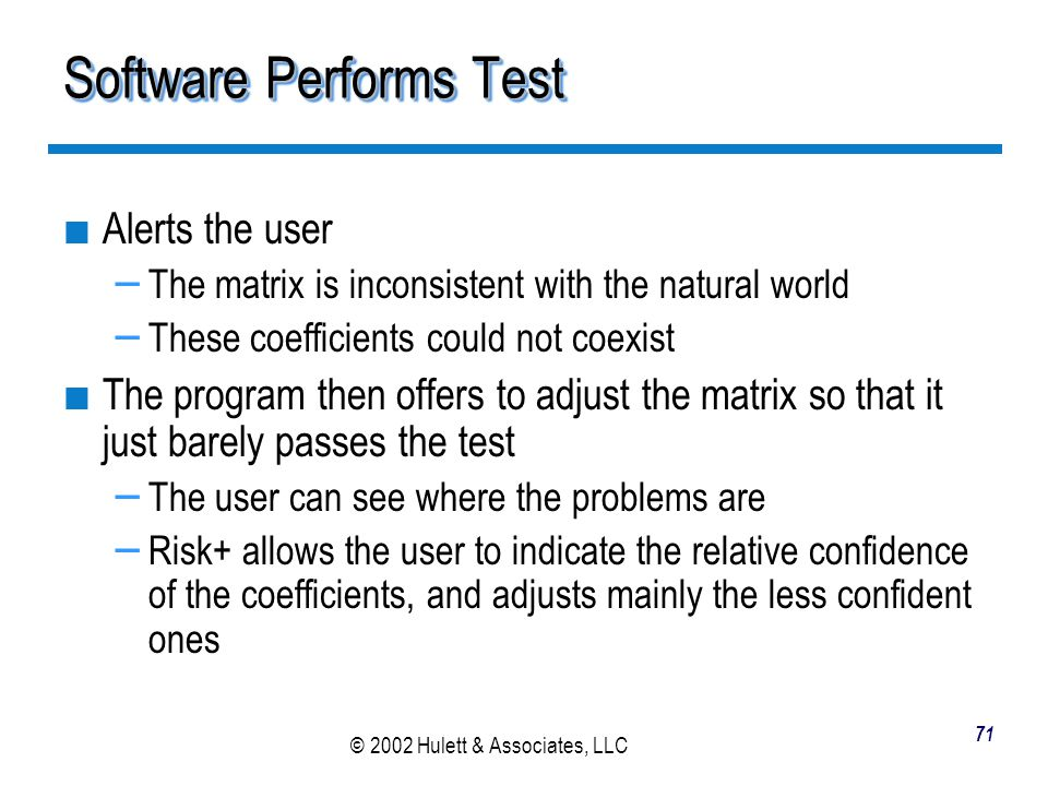 Software Performs Test