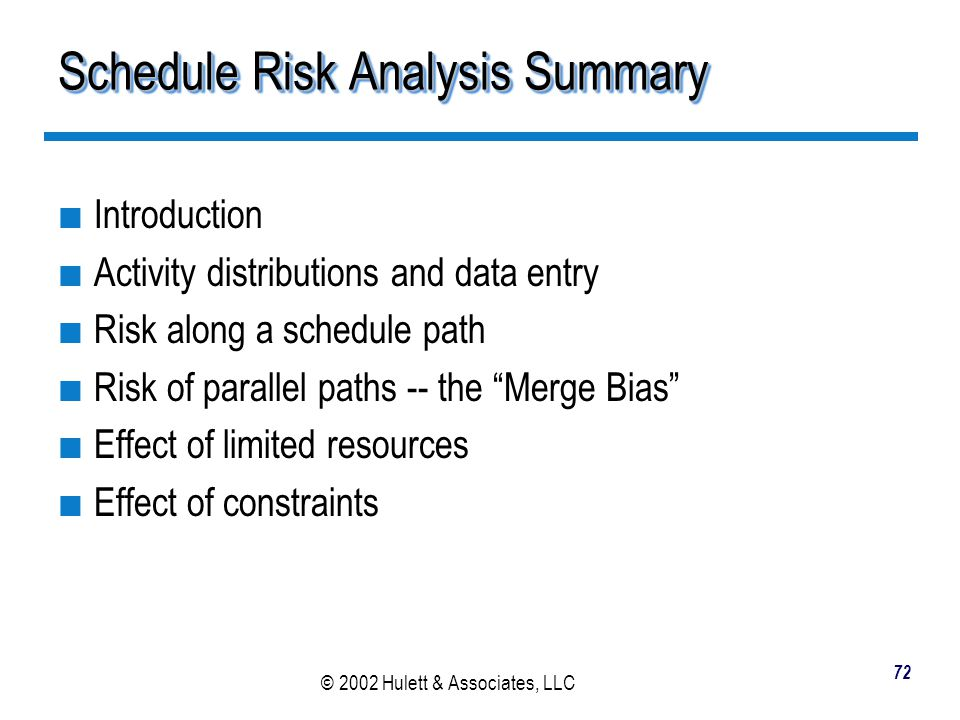 Schedule Risk Analysis Summary