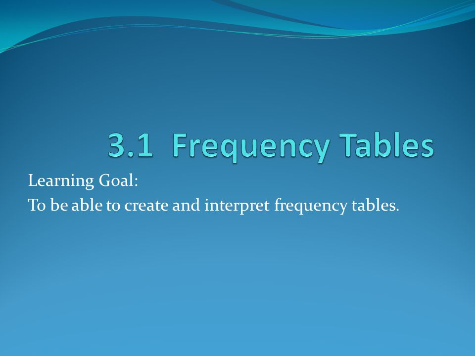 Learning Goal: To be able to create and interpret frequency tables.