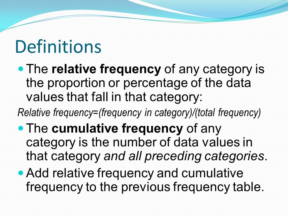 Definitions The relative frequency of any category is the proportion or percentage of the data values that fall in that category: