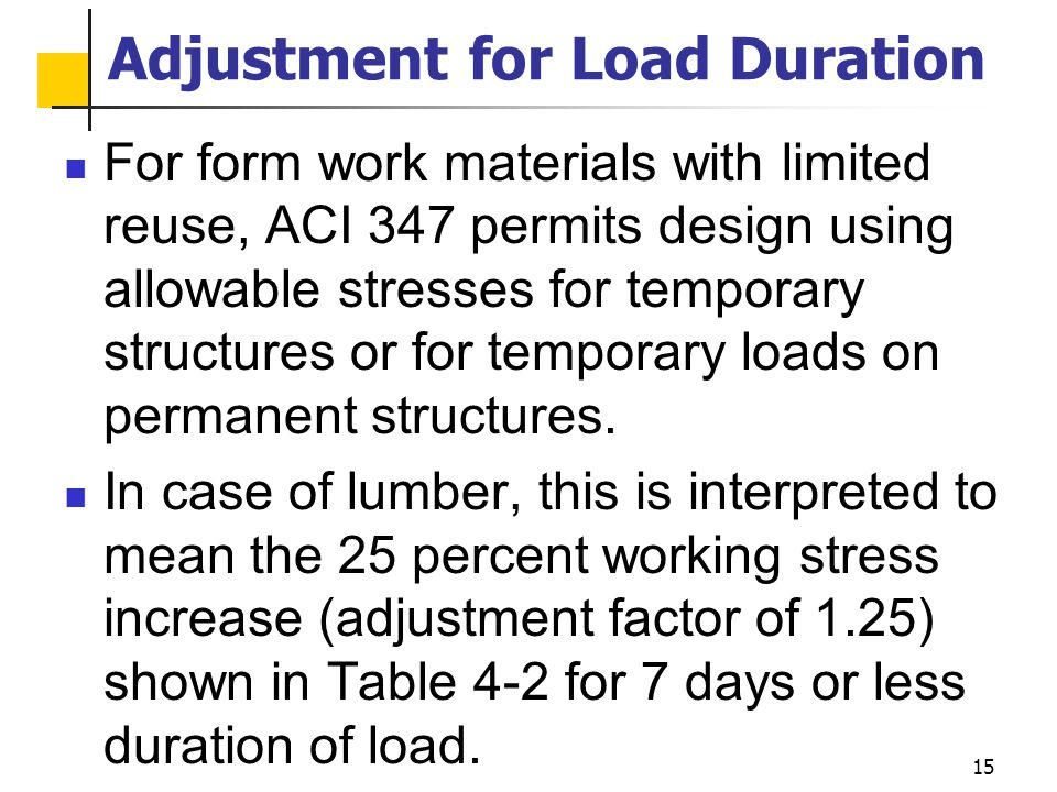 Adjustment for Load Duration