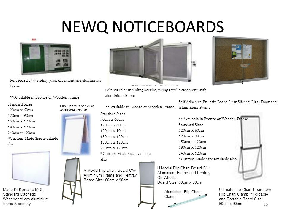 NEWQ NOTICEBOARDS Felt board c/w sliding glass casement and aluminium Frame. **Available in Bronze or Wooden Frame.