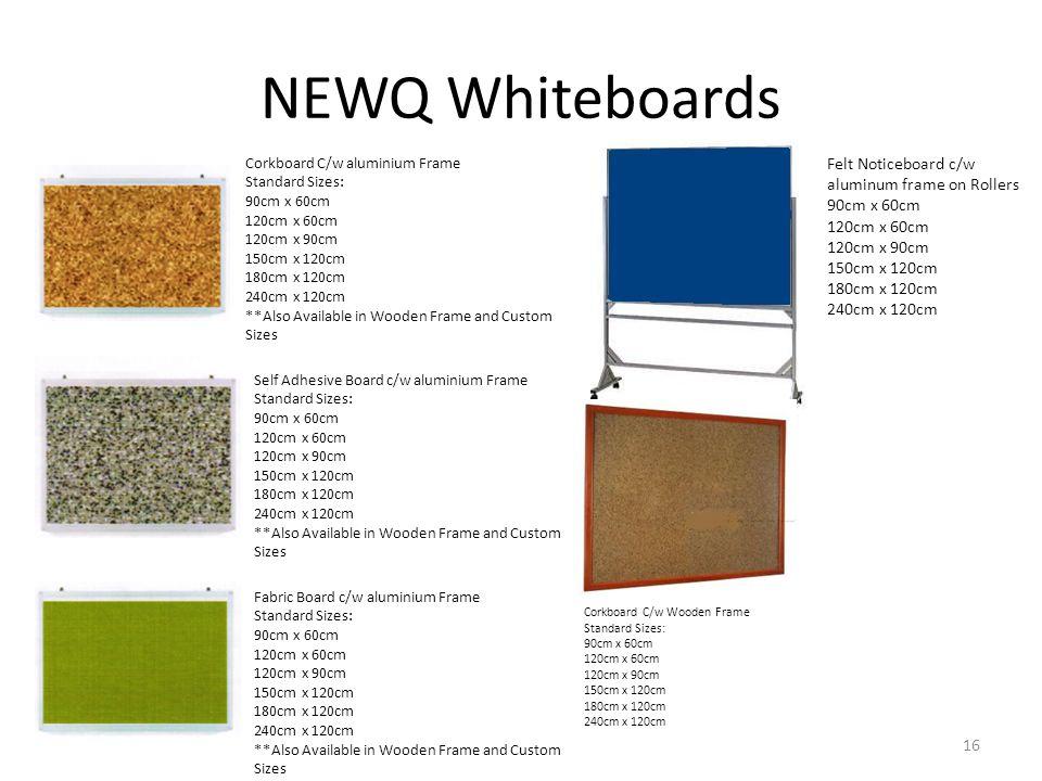 NEWQ Whiteboards Felt Noticeboard c/w aluminum frame on Rollers